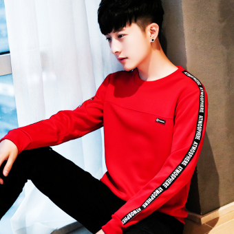 Pria Musim Gugur Yang Hangat Leher Bulat Kaos Sweater T-shirt (Merah T33 (