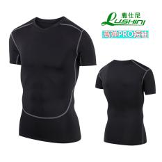 Pria olahraga berjalan cepat kering celana ketat (Tinggi elastis PRO lengan pendek)