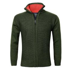 Pria rajutan wol bulu domba tebal lapisan campuran sweter kardigan hijau tentara International .