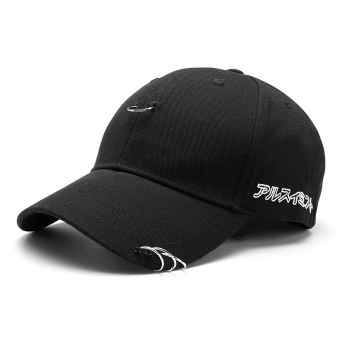Pria wanita cincin Hip-Hop melengkung Snapback topi bisbol (hitam) - International