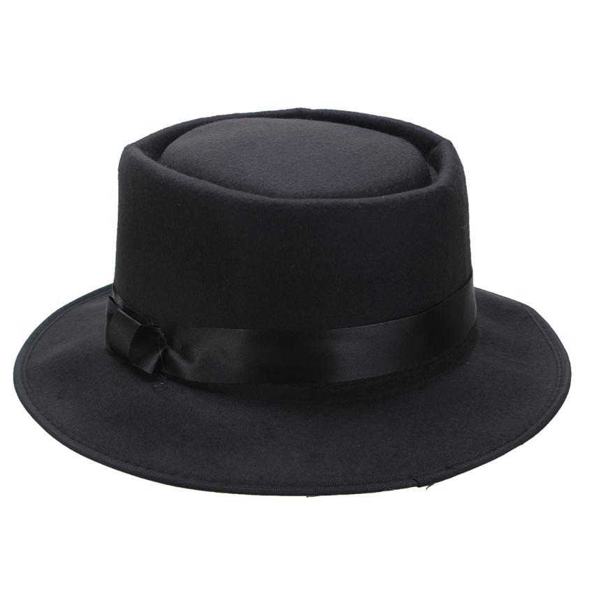 Pria wanita topi wol Fedora bulat yang bisa diremas Vintage pendek si topi .