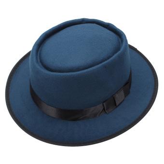 Pria wanita wol merasa topi Fedora bulat pendek si topi laken topi Vintage bisa diremuk dengan