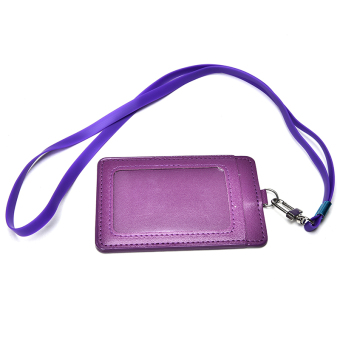 PU Leather Id Holders Case Business Badge Card Holder with NecklaceLanyard Purple - intl