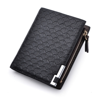 PU Leather Zipper Wallet Money Clip Card Holder Pocket Money Purse