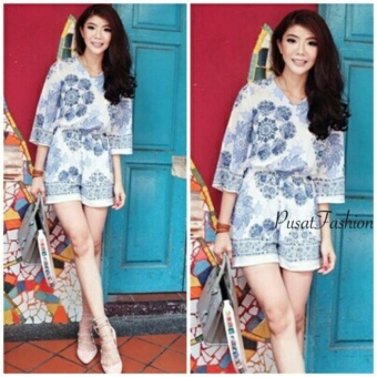 PusatFashion Jamsuit Wanita / Jamsuit Villa - White