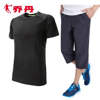 Qiaodan laki-laki musim gugur baru kebugaran olahraga pakaian (Hitam + abu-abu gelap)