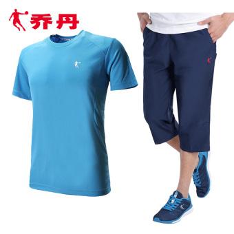 Qiaodan laki-laki musim gugur baru kebugaran olahraga pakaian (Sky Blue + gerhana biru)