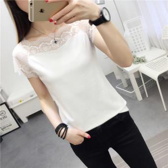Qiaolusi Kaos Wanita Pas Badan Model Sabrina Lengan Pendek Warna Putih/Hitam (Putih)