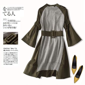 Pelacakan Harga Qiudong Korea Fashion Style baru perempuan adalah baju tipis tidak teratur (Tentara hijau