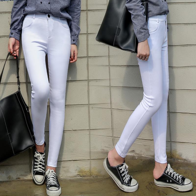 Flash Sale Qiudong Korea Fashion Style hitam pinggang tinggi tipis celana legging baru (Putih)