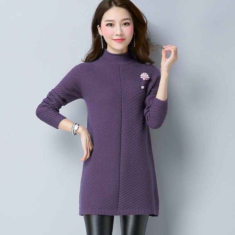 Qiudong Korea Fashion Style yard besar Slim adalah gaun sweater tipis merajut gaun (Violet)