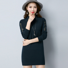 Qiudong warna solid pullover leher bulat renda bottoming baju sweater kemeja (Hijau gelap)