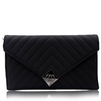 Quincy - Shannel - Premium Women Wallet on Chain/ Dompet Wanita Tas Selempang - Black