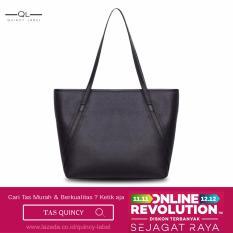 QuincyLabel Tas Wanita Women Fashion PU Tote Leather Handbags Shoulder Bags - Hitam