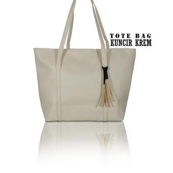 Raisya Tas Fashion Tote Bag Kulit Kuncir - Cream