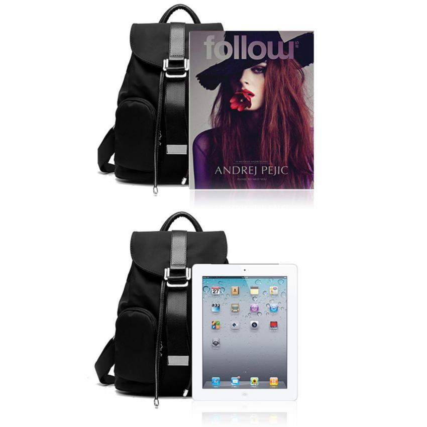 Ransel sekolah Fashion tas bahu nilon (hitam) - International .
