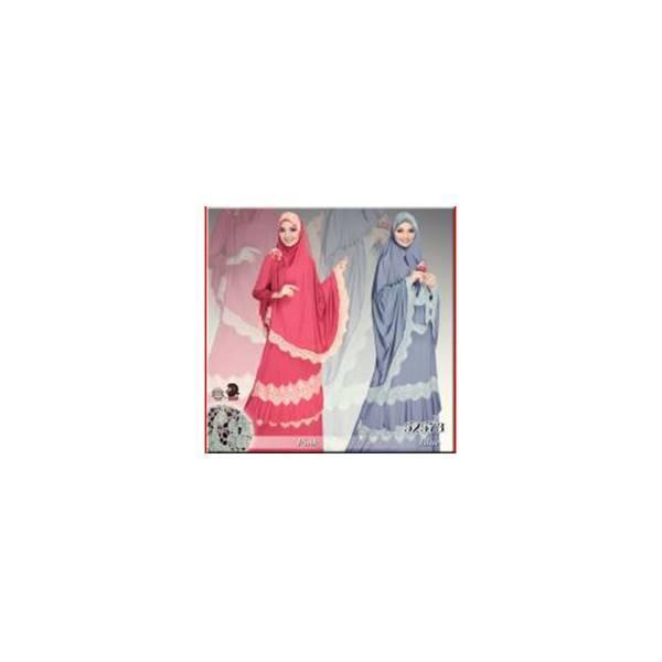 Flash Sale Real Picture Mukena Jersey Renda Warna Merah & Biru