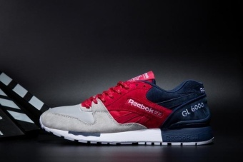 Reebok Mens Casual Shoes GL6000 Sports Shoes Running Shoes Reebok Classical Walking Shoes (grey red Blue) - intl