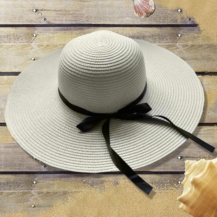 Resor tepi laut pantai perempuan topi pantai topi matahari topi (Susu putih  (tali topi d5cee0edca