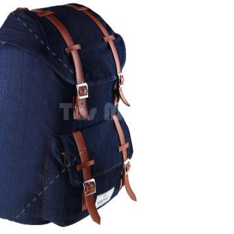 Respect Mountain Denim Backpack - Biru Jeans - 2 .