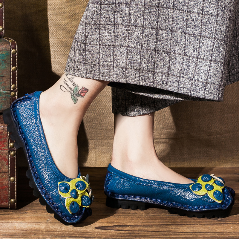 Retro asli buatan tangan datar dengan bunga single sepatu (Biru)