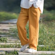 Retro kain longgar lipit celana kasual celana jeans lurus celana (Istana kuning) (Istana