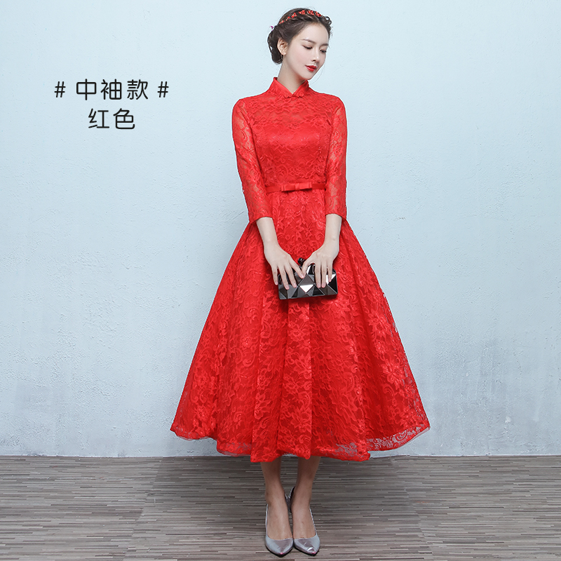 Flash Sale Retro Mempelai Wanita Baru Renda Menikah Gaun Baju Pelayanan  (Merah Tua Lengan Sedang 107) 0b0e7ca9e6
