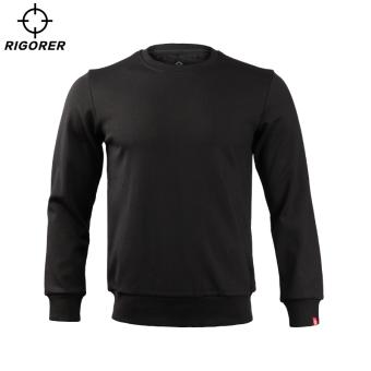 Jual RIGORER pria pullover leher bulat kebugaran kasual pakaian sweater baru (Abu-abu terang) Terpercaya