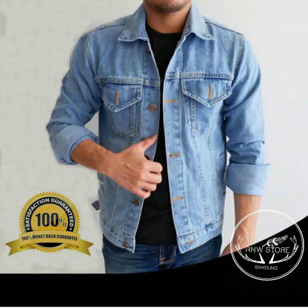 Hot Deals Rnw Jaket Pria Jeans Denim Birumuda Bandingkan Toko Panjang
