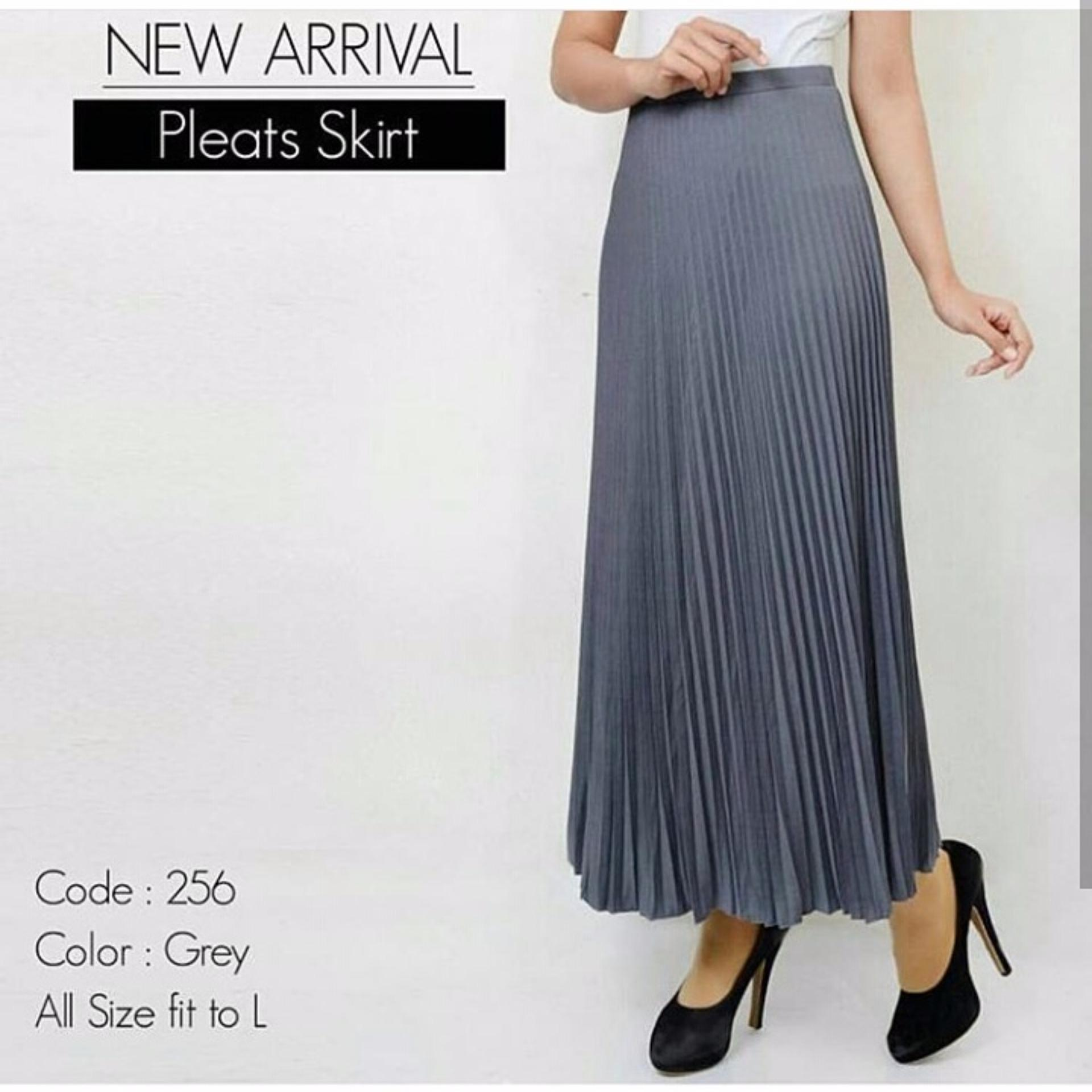 Flash Sale Rok Plisket Panjang - Grey