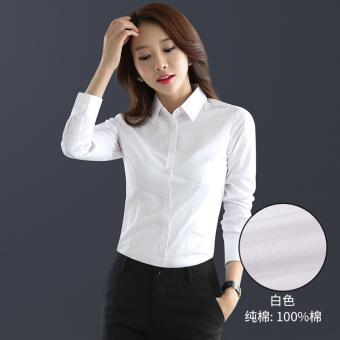 Diskon Penjualan Rumah Korea katun lengan panjang perempuan overall kemeja putih (Putih (katun)