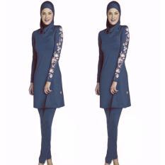 S-5XL Wanita Plus Ukuran Dicetak Floral Swimwear Muslim Fashion Muslimah Islam Swimsuit Berenang Surf Wear Sport Pakaian Blue-Intl