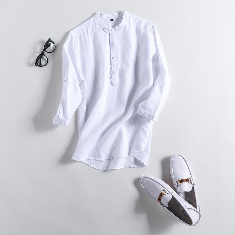 Safarui retro linen warna solid Lengan pakaian pria kemeja linen baju kemeja (Putih)