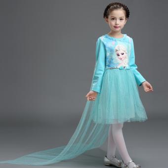 Salju lengan panjang gaun anak gaun putri (Frozen langit biru)