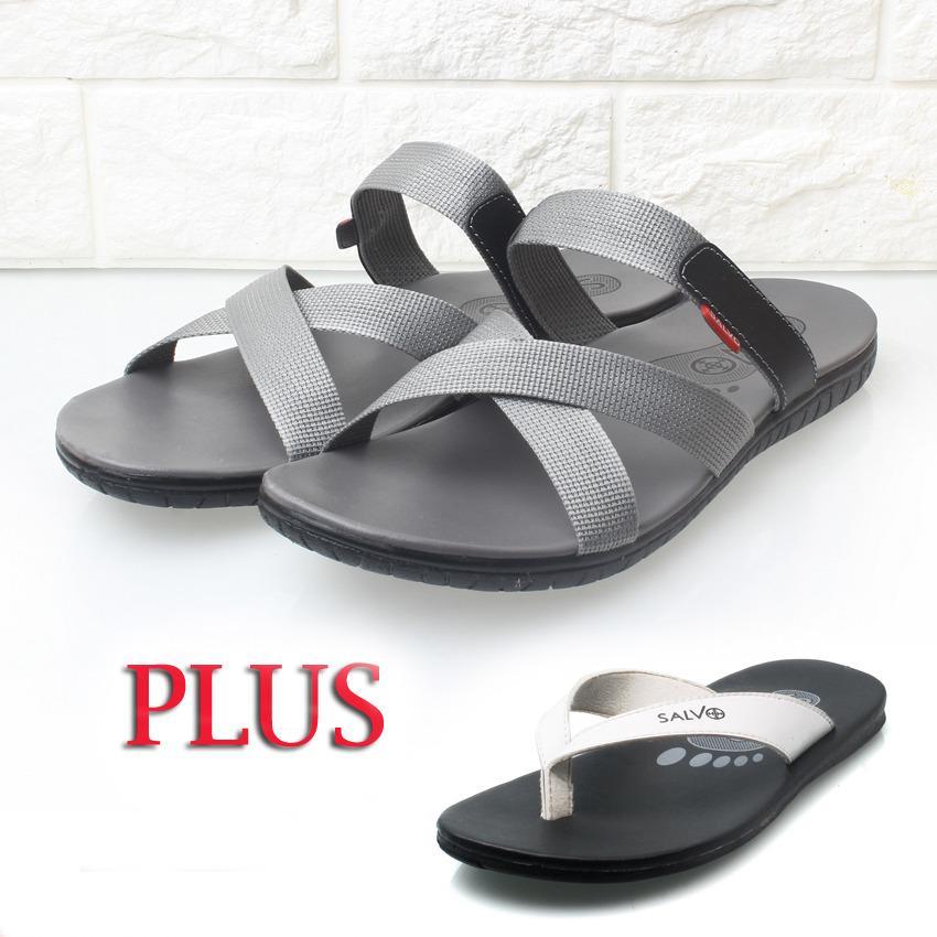 Free sandal S01 putih Salvo sandal casual pria S03 (merah, abu-abu, hitam, biru)