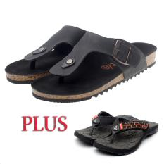 Salvo sandal pria PC-01 hitam FREE sandal SG orange