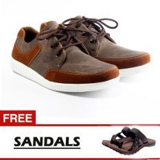 Salvo sepatu sneaker denim ST coklat free SG01 coklat