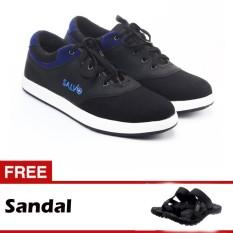 Salvo sepatu sneaker kanvas A02 hitam/biru gratis SG01 hitam