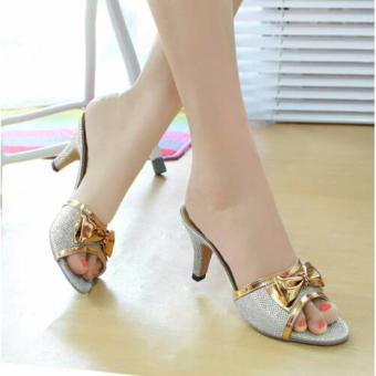 Sandal Kitten Heels Pita Glitter Silver NFZ-002