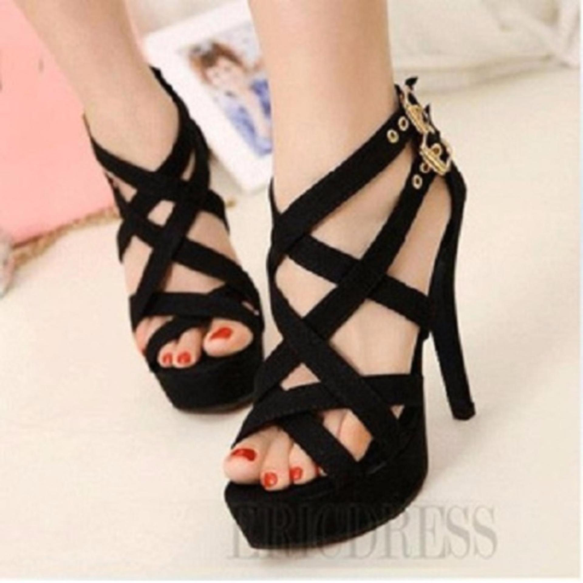 Flash Sale Sandal Sepatu Wanita High Heels Hitam