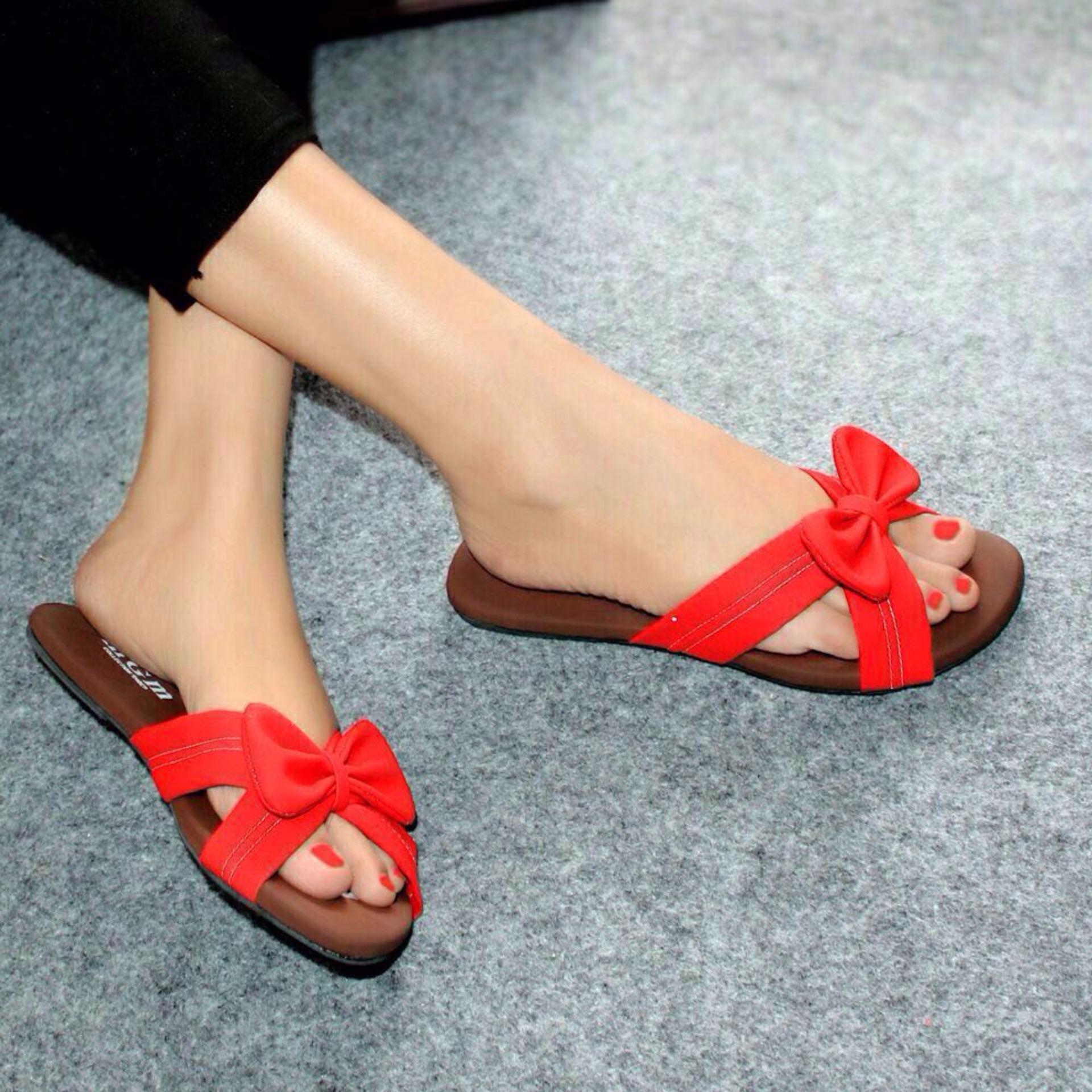 Hot Deals Sandal Teplek Flat Jepit Pita Merah NFZ 104 terbaik murah Hanya Rp37