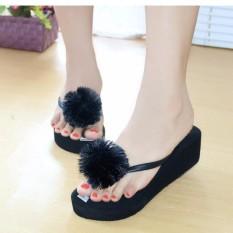 sandal wanita wedges spon pom pom hitam Department store