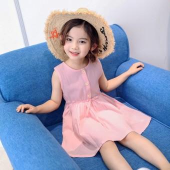 Sayang Baru Without Lengan Children Gaun Without Lengan Gadis Gaun (Merah Muda)