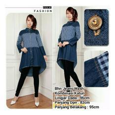 SB Collection Atasan Blouse Alicia Tunik Dress Jeans-Biru