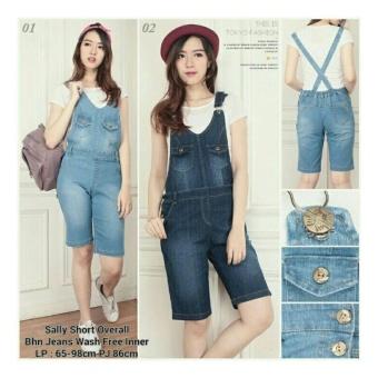 ... SB Collection Celana Sally Overall Jeans Jumpsuit Pant Biru Muda