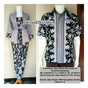 SB Collection Couple 3in1 Akanda Batik Stelan Kebaya Dan Kemeja-Abu