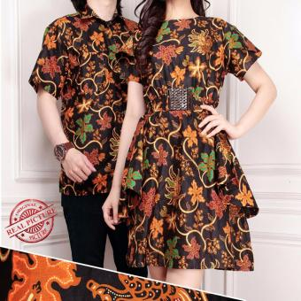 SB Collection Couple Batik Ananta Dress Dan Kemeja-Coklat