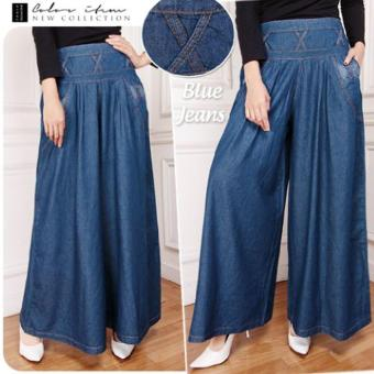 SB Collection Geisha Kulot Rok Jeans - Biru Tua