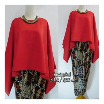 SB collection Stelan Kebaya Astria Batik Blouse Kalong dan Rok Lilit Jumbo-Merah