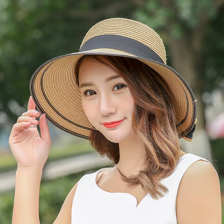 ... Harga baru Korea Fashion Style perempuan musim panas topi topi topi pantai topi jerami Putih
